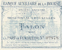 Vignette of the Brussels Stock Exchange in the underprint of a renewal coupon.