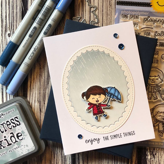 Sunny Studio Stamps: Fall Kiddos Fancy Frames Customer Card by Noga Shefer