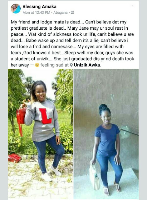 Photos: Fresh graduate of UNIZIK dies after a brief illness