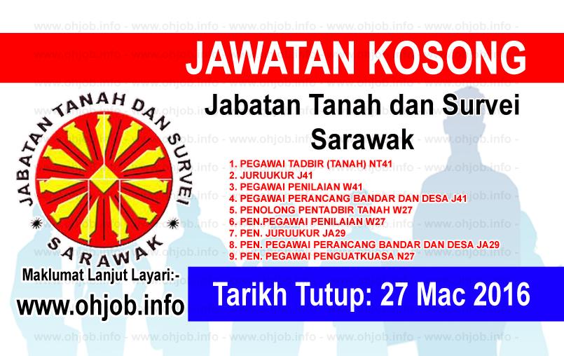 Jawatan Kerja Kosong Jabatan Tanah dan Survei Sarawak logo www.ohjob.info mac 2016