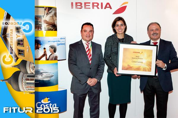 COSTA CRUCEROS - Iberia Líneas Aéreas entrega en Fitur un galardón a Costa Cruceros por su contribución al desarrollo del negocio
