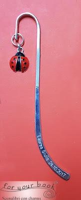 segnalibro metallo laurea coccinella incisione nome data personalizzato