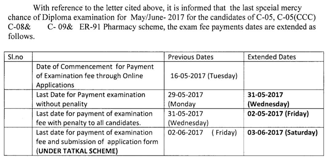 SBTET TS - Exams - Extension of Fee Dates for Last mercy chance for Diploma Examinations May/June-2017 of C-05, C-05(CCC), C-08 & C-09 & ER-91 Pharmacy scheme