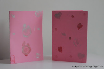DIY heart stamped cards for Valentine's Day