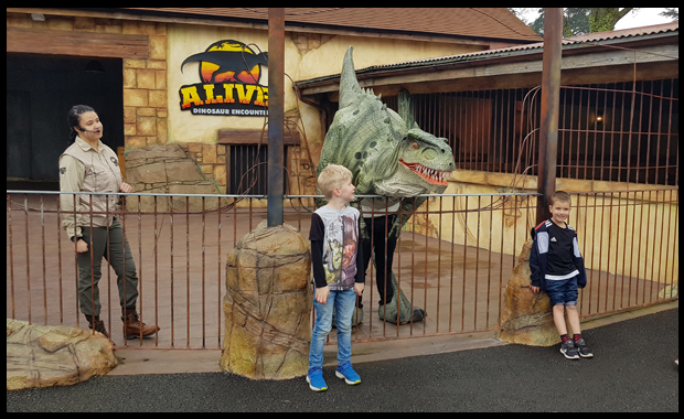 Meeting the dinos at Paultons Park