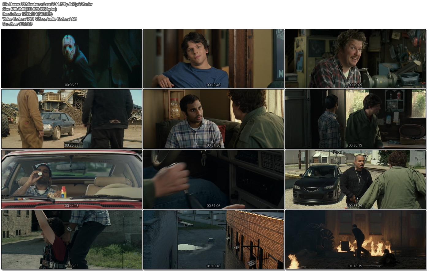 30 Minutes or Less 2011 720p BrRip 700MB 264 Movie Screenshots