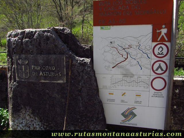 Cartel explicativo ruta PR AS-60