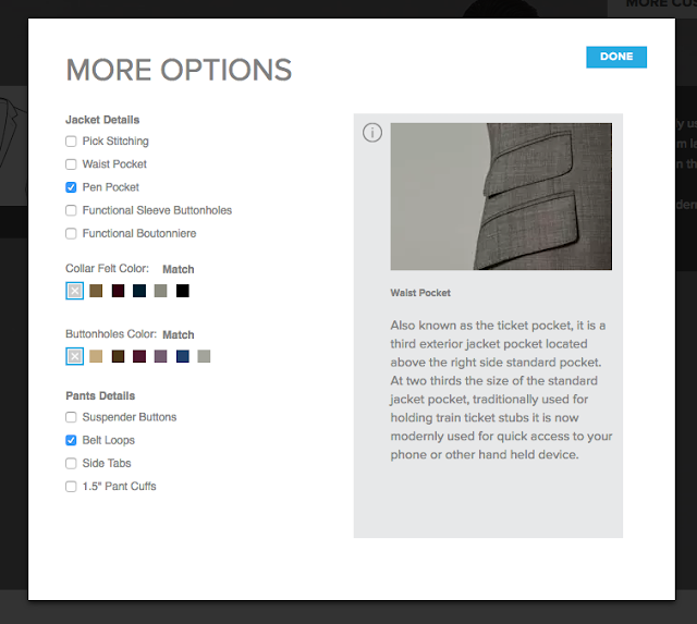 Indochino suit customization options
