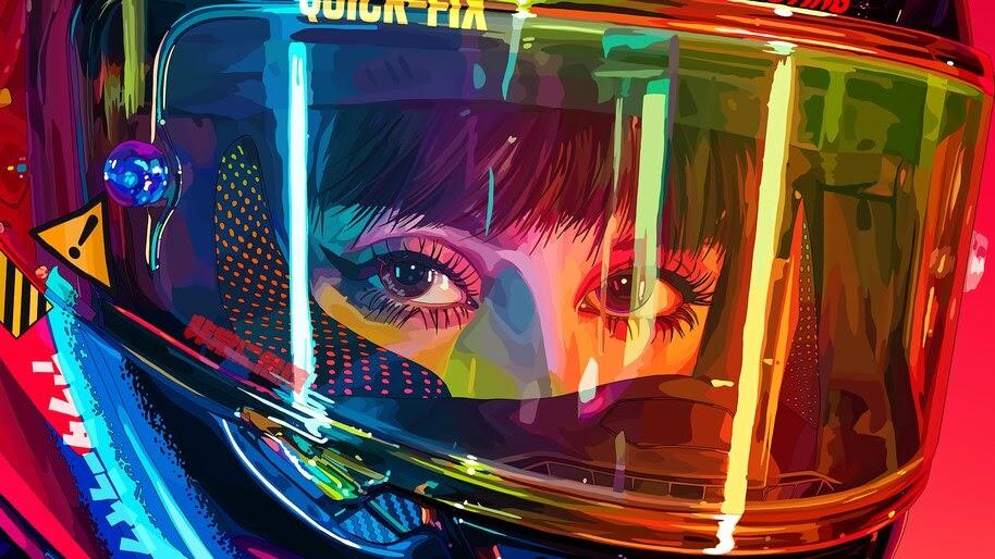 Women, Biker, Girl, Helmet, Digital Art, 4K, #6.1260