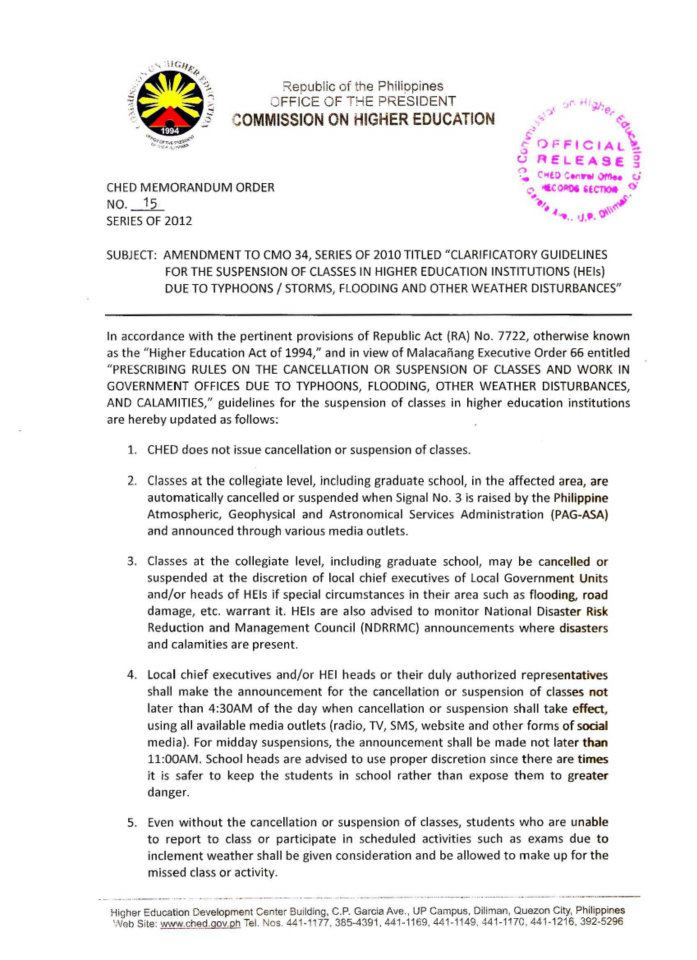 Imagine Green: CHEd Guidelines on the suspension of classes in