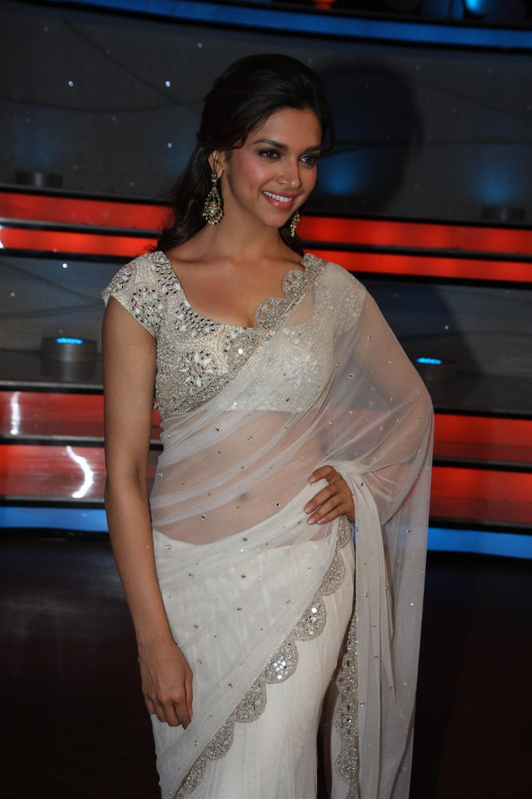Gorgeous deepika in a white designer saree