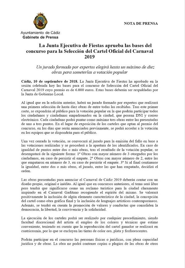 La Junta Ejecutiva de Fiestas aprueba las bases del concurso para la Selección del Cartel Oficial del Carnaval 2019