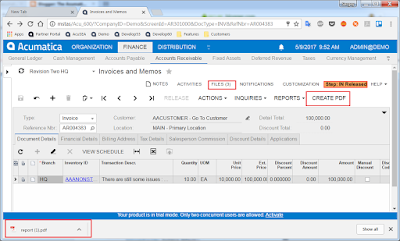 report PDF file acumatica