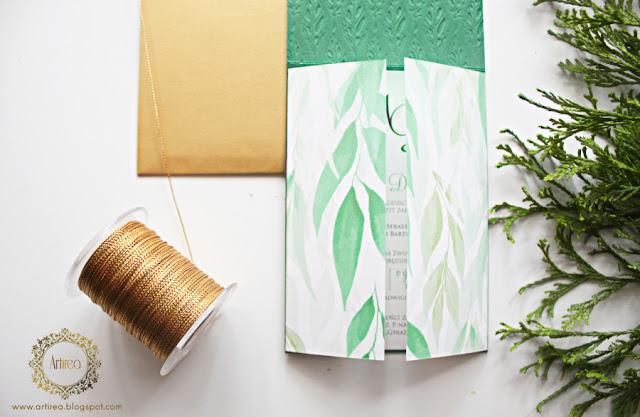 eleganckie zielone zaproszenia ślubne