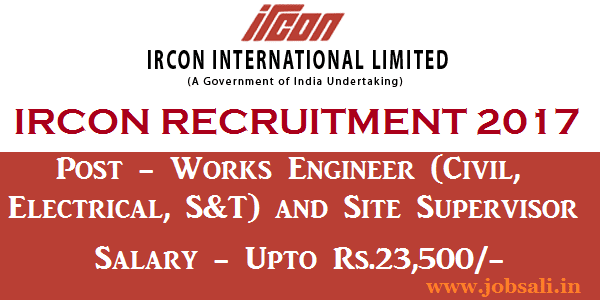 Civil engineering jobs, IRCON Apply Online, Govt jobs in Delhi
