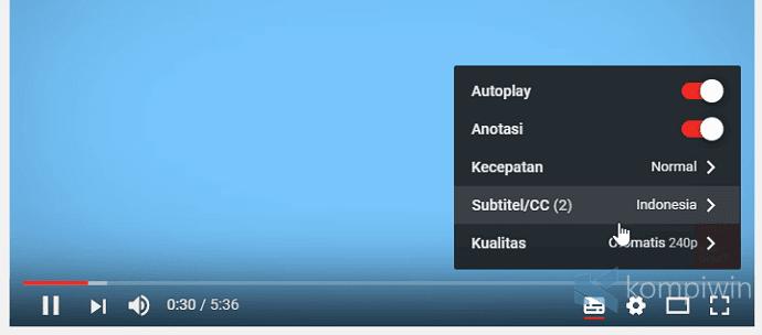mengubah subtitle youtube