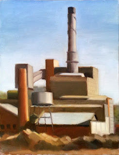Oil painting of a large industrial building marked by large chimneys.