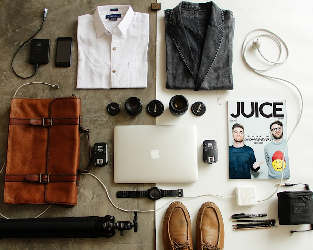 Male packing flatlay