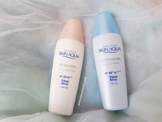 Skin Aqua UV Mild Milk dan Skin Aqua UV Moisture Milk