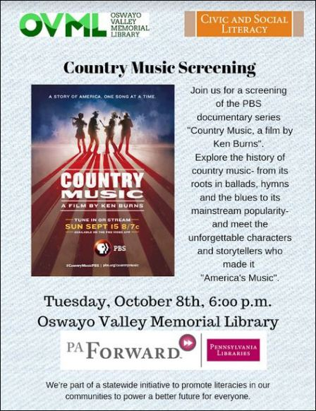 10-8 Country Music Screening, OV Memorial Library
