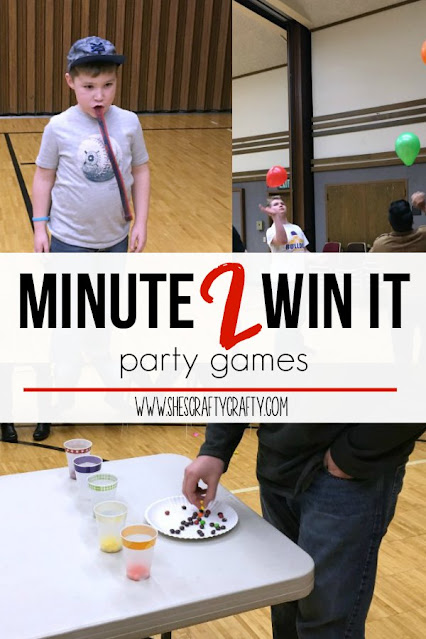 minute 2 win it games, party games, birthday party games, party games for teens