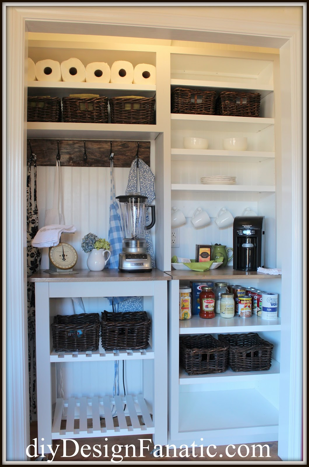 cottage, cottage style, cottage kitchen, kitchen reno, farmhouse, farmhouse style, farmhouse kitchen, Vintage Style Pantry, kitchen cart, reclaimed wood, coat rack, pantry storage, diyDesignFanatic.com