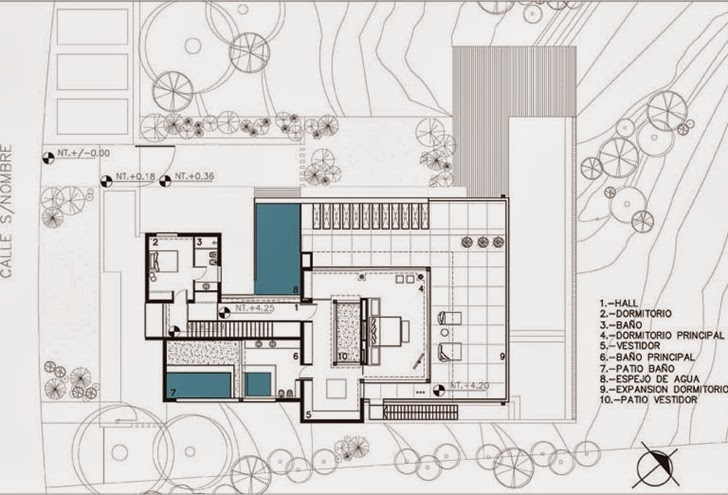 First floor plan of Modern Agua House by Barrionuevo Sierchuk Arquitectas