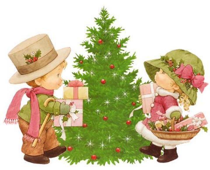 niños y árbol de navidad