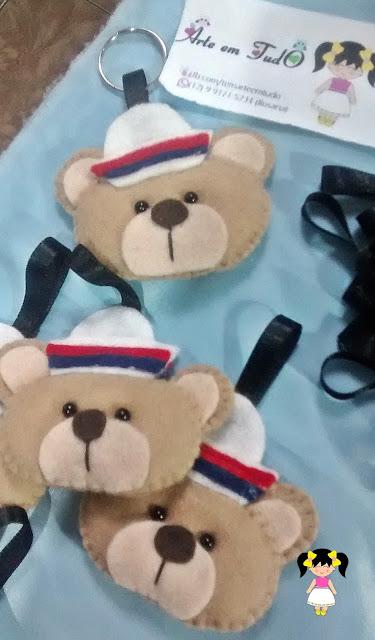 chaveiro ursinho marinheiro feltro