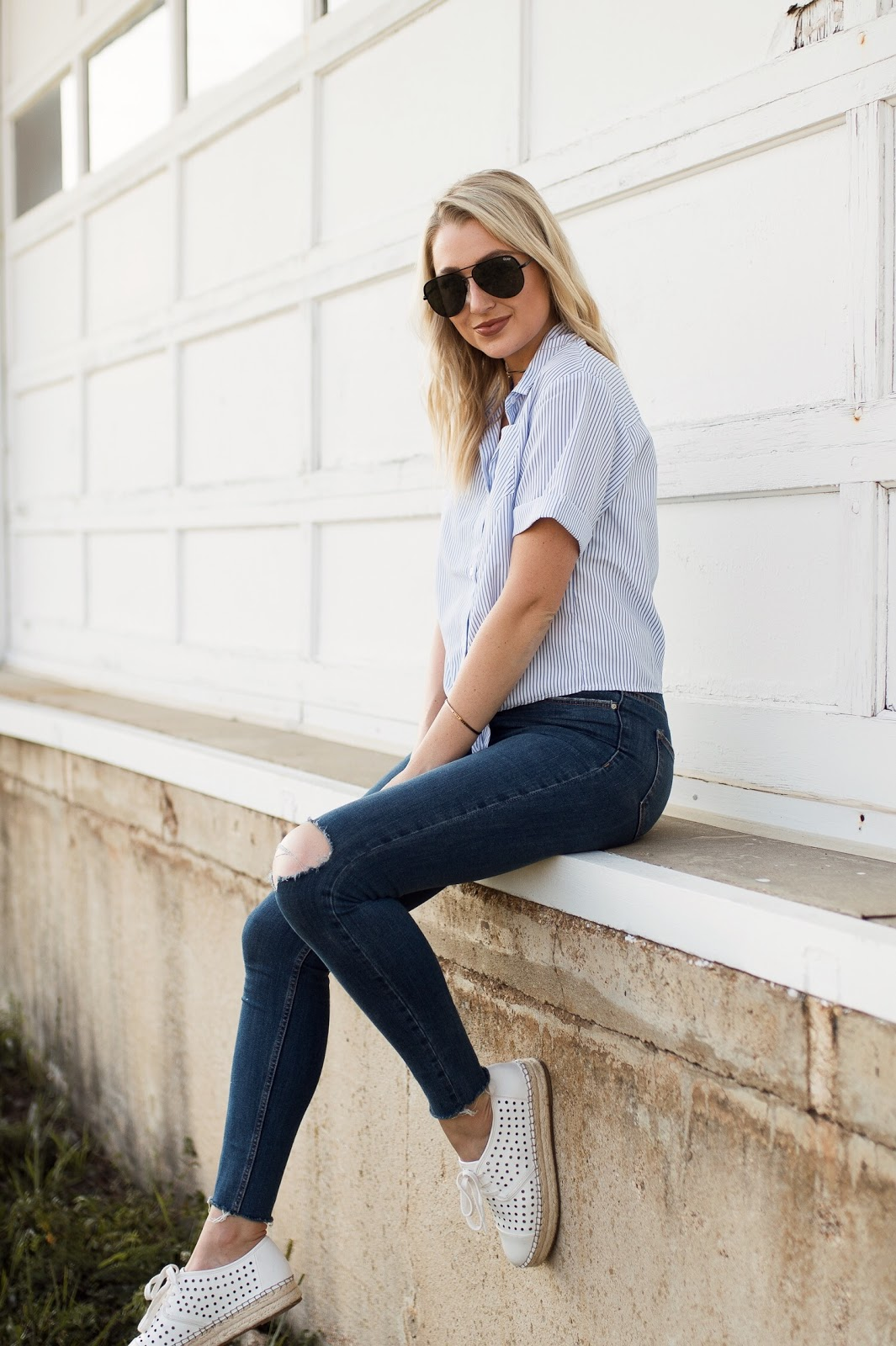 casual outfit with a button-down and sneakers