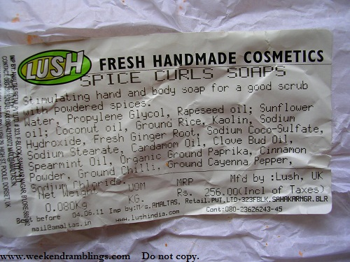 Lush Spice Curls Soap - Ingredients