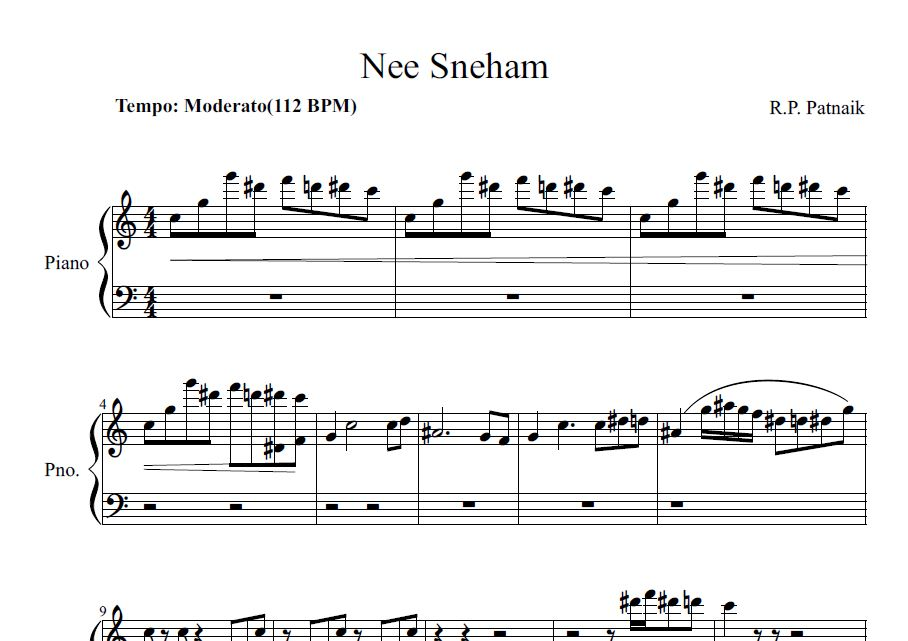 All Music Chords indian music sheet : Nee sneham piano sheet | Sheet music for Indian songs
