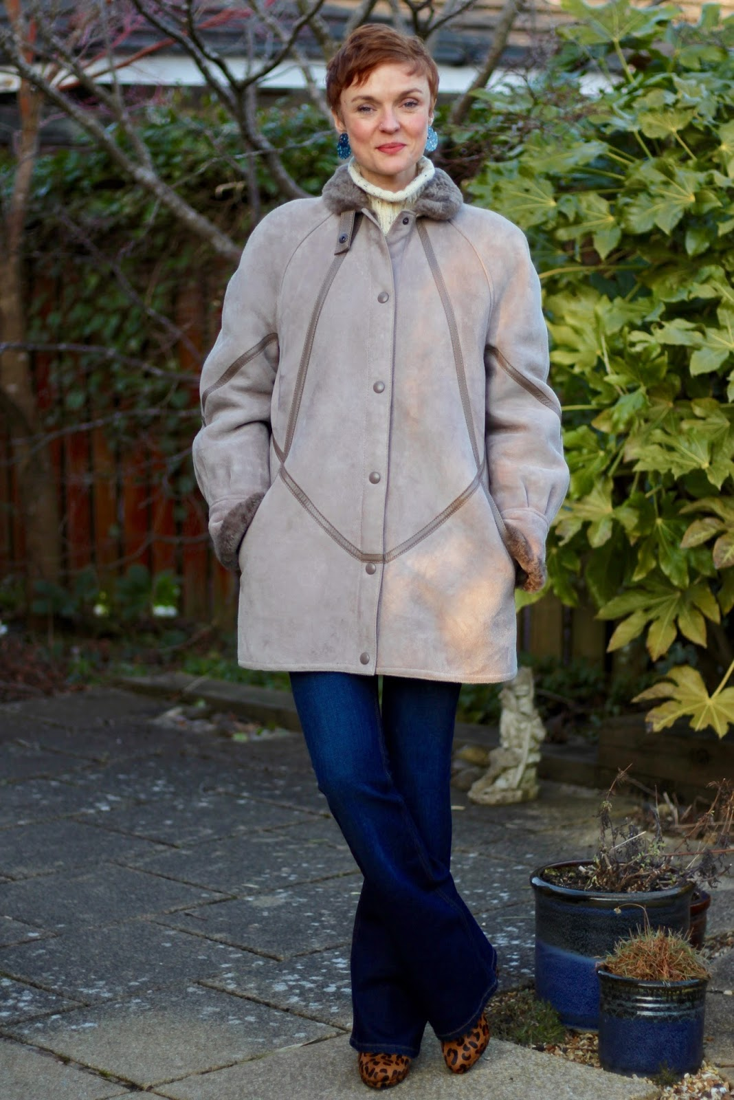 Grey Vintage Sheepskin Coat & an Aran Wool Jumper | Fake Fabulous
