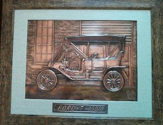 metaloplastie pe tabla de cupru, masina de epoca ford, tablouri, masini, arta plastica, lucru manual, masini de epoca,