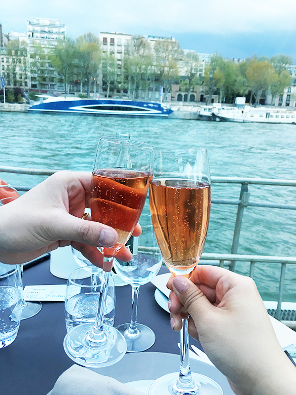 Toasting with champagne during the gourmet dinner cruise