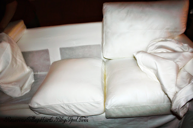 Putting the pillow covers on an Ikea Couch | Ikea Couch Review | Rosevinecottagegirls.com