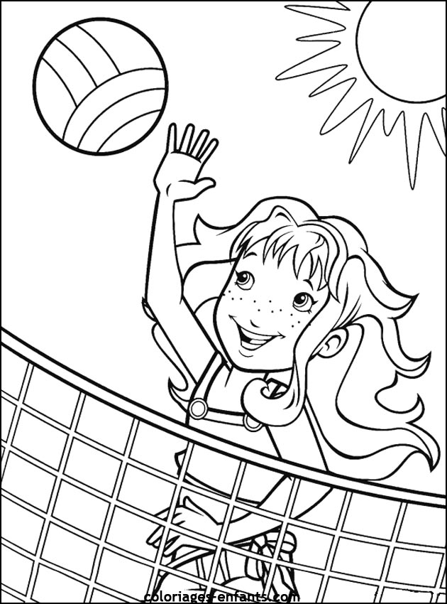 Coloring & Activity Pages: Girl Playing Beach Volleyball