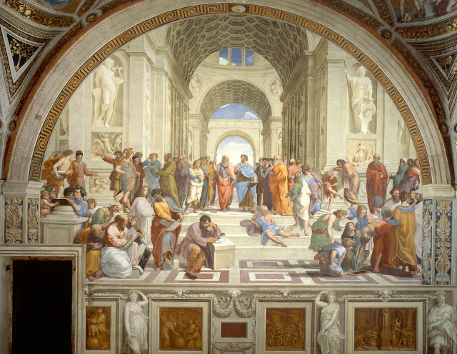 Raphael's 'School of Athens' decorates one of four walls of the Stanza della Segnatura. Photo: WikiMedia.org.