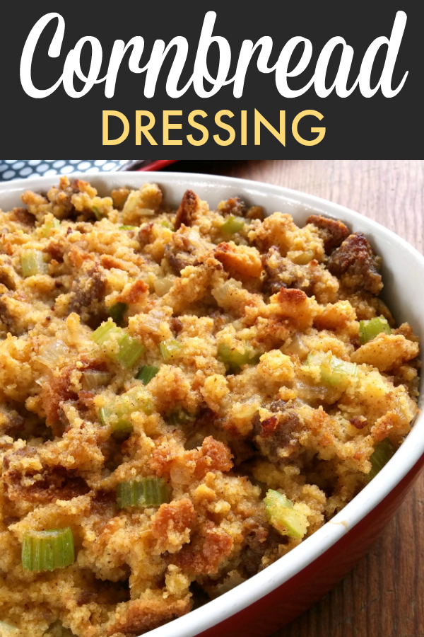 Southern Cornbread Dressing with Sausage! This is a super easy recipe made extra special with sausage crumbles (optional) and cornbread.
