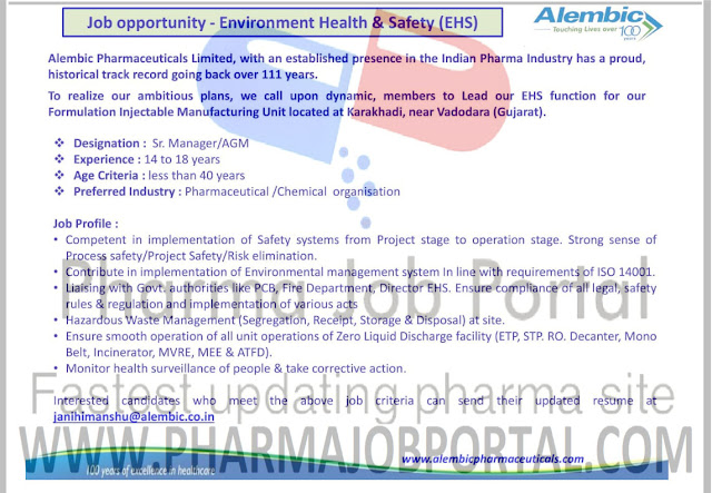 Alembic Pharmaceuticals Walk In Interview For Multiple Position