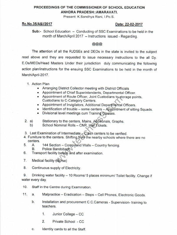 R.C.No.35 - SSC Examinations action plan and instructions