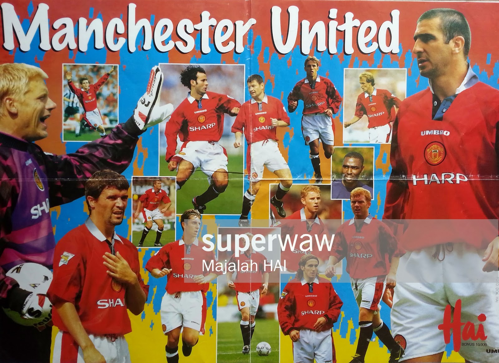 BIG POSTER PEMAIN MANCHESTER UNITED 1996
