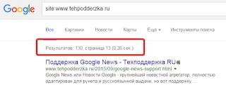 Результаты в поиске Google