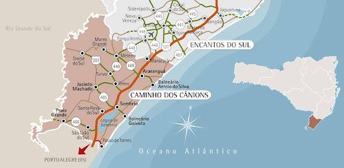 Mapa da região do Caminho dos Cânions - Santa Catarina