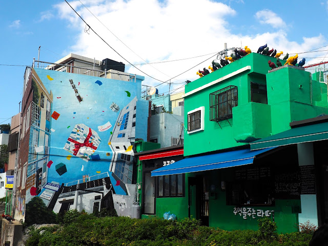 """People and Birds"" art piece, and wall mural in Gamcheon Village, Busan, South Korea"