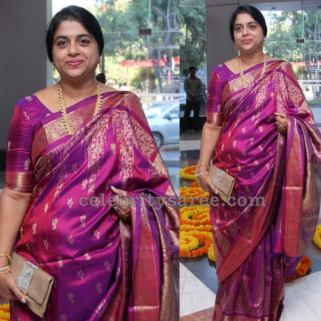 Shailaja Kiran Pink Knachipattu Saree