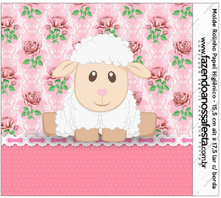 Lamb in Shabby Chic: Free Printable Candy Buffet Labels.