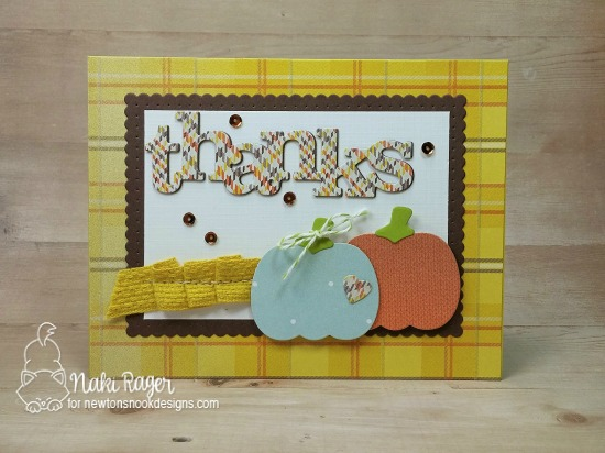 Inky Paws Challenge 37 - Plaid | Plaid Thank you card with pumpkins by Naki Rager | Pick-a-Pumpkin Die set by Newton's Nook Designs