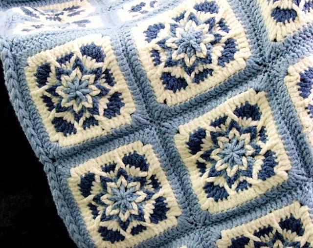 Crochet blanket, star-motif, Square crochet motif
