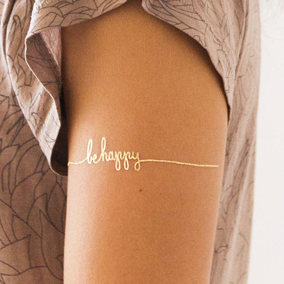 Be happy temporary gold tattoo for women